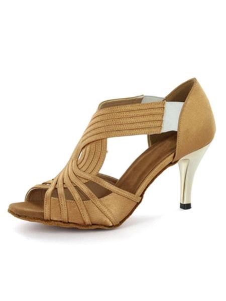 Milanoo Khaki Dance Shoes Satin Stiletto Heel Womens Ballroom Shoes