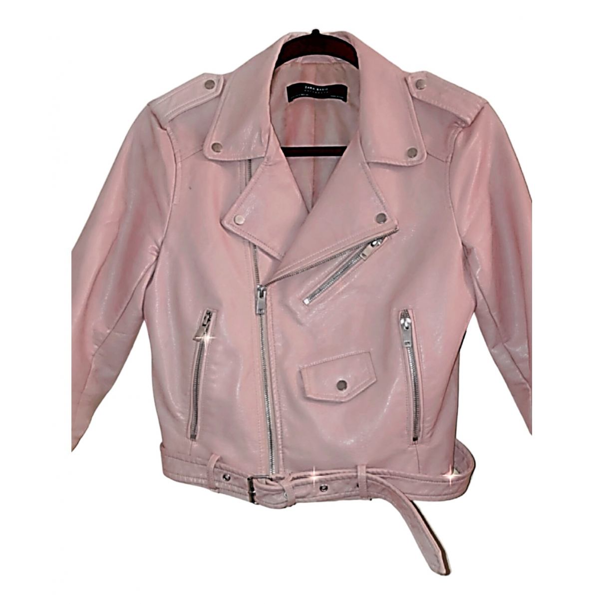 Zara \N Pink Leather Leather jacket for Women M International