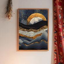 Pintura de pared con estampado de paisaje de montaña sin marco