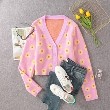 Button Front Floral Pattern Cardigan