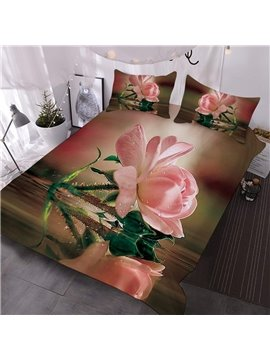 The Pink Rose And Its Reflection Printed 3-Piece Comforter Sets