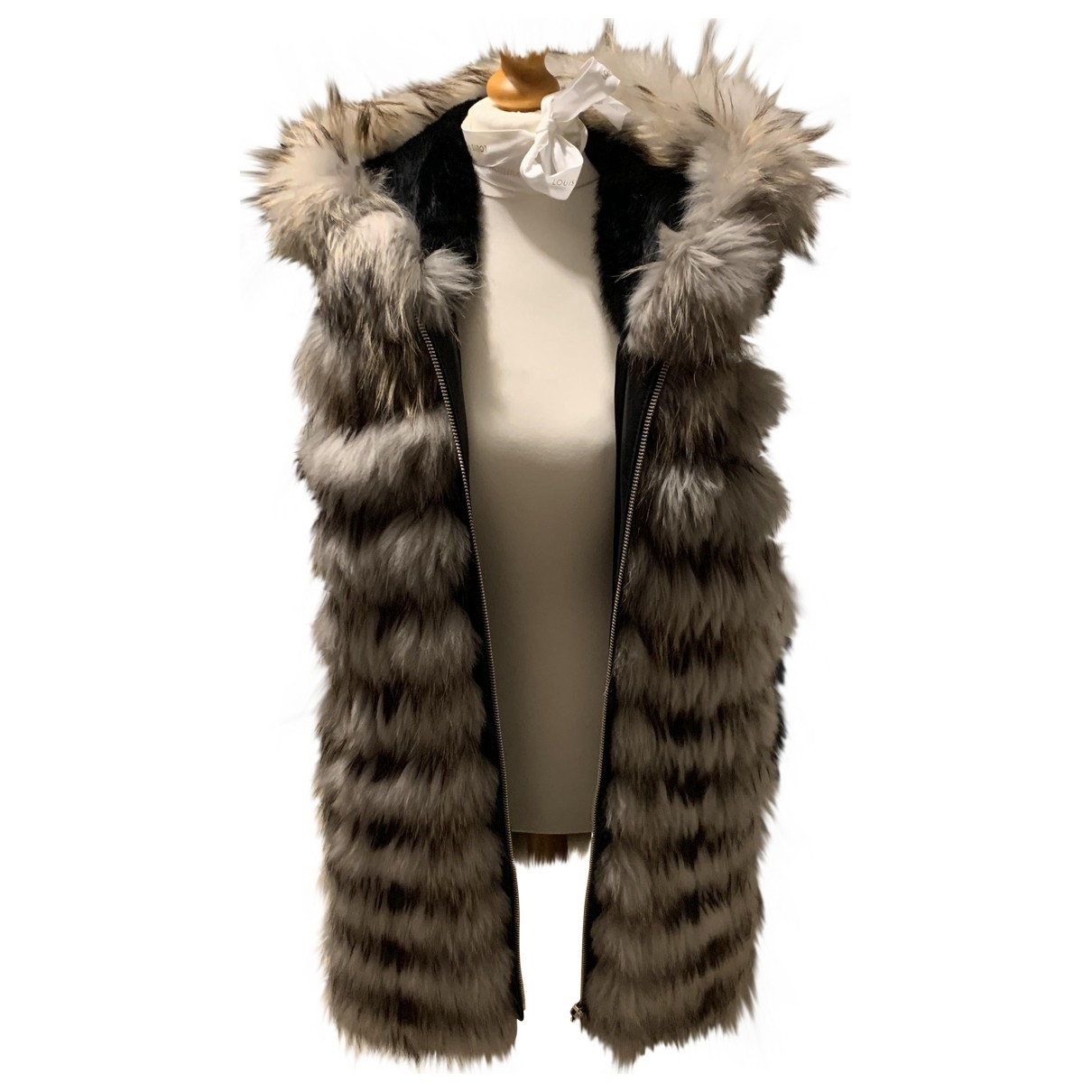 Non Signé / Unsigned \N Brown Raccoon coat for Women 36 FR