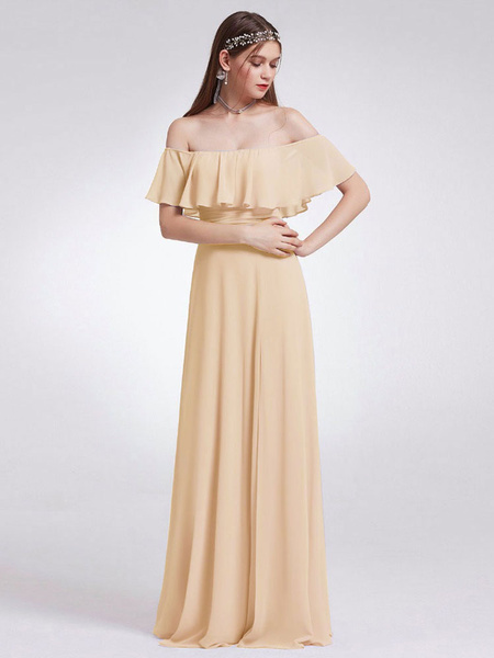 Milanoo Bridesmaid Dresses Off The Shoulder A Line Floor Length Zipper Chiffon Wedding Party Dress