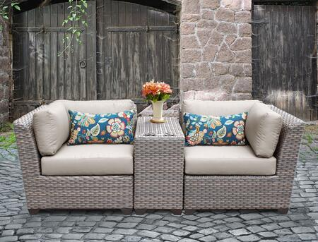 FLORENCE-03b-BEIGE Florence 3 Piece Outdoor Wicker Patio Furniture Set 03b with 2 Covers: Gray and