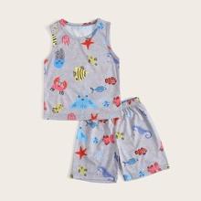 Conjunto de pijama de niñitos con estampado de dibujos animados