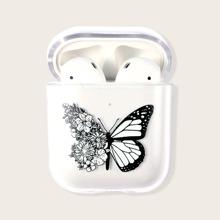 1 pieza funda de Airpods Pro transparente con estampado de mariposa