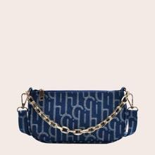 Chain Decor Letter Graphic Baguette Bag