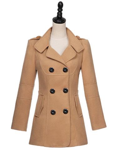 Milanoo Women Peacoat Dark Navy Long Sleeve Turndown Collar Double Breasted Woolen Winter Coat