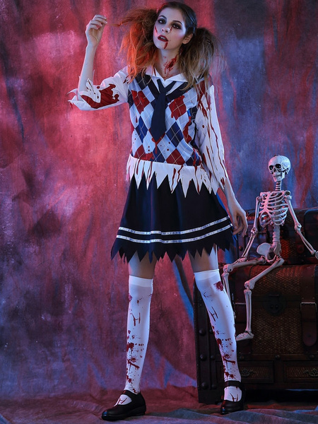 Milanoo Day Of The Dead Costume Halloween Costume School Girl Women's Outfit With Tie Halloween