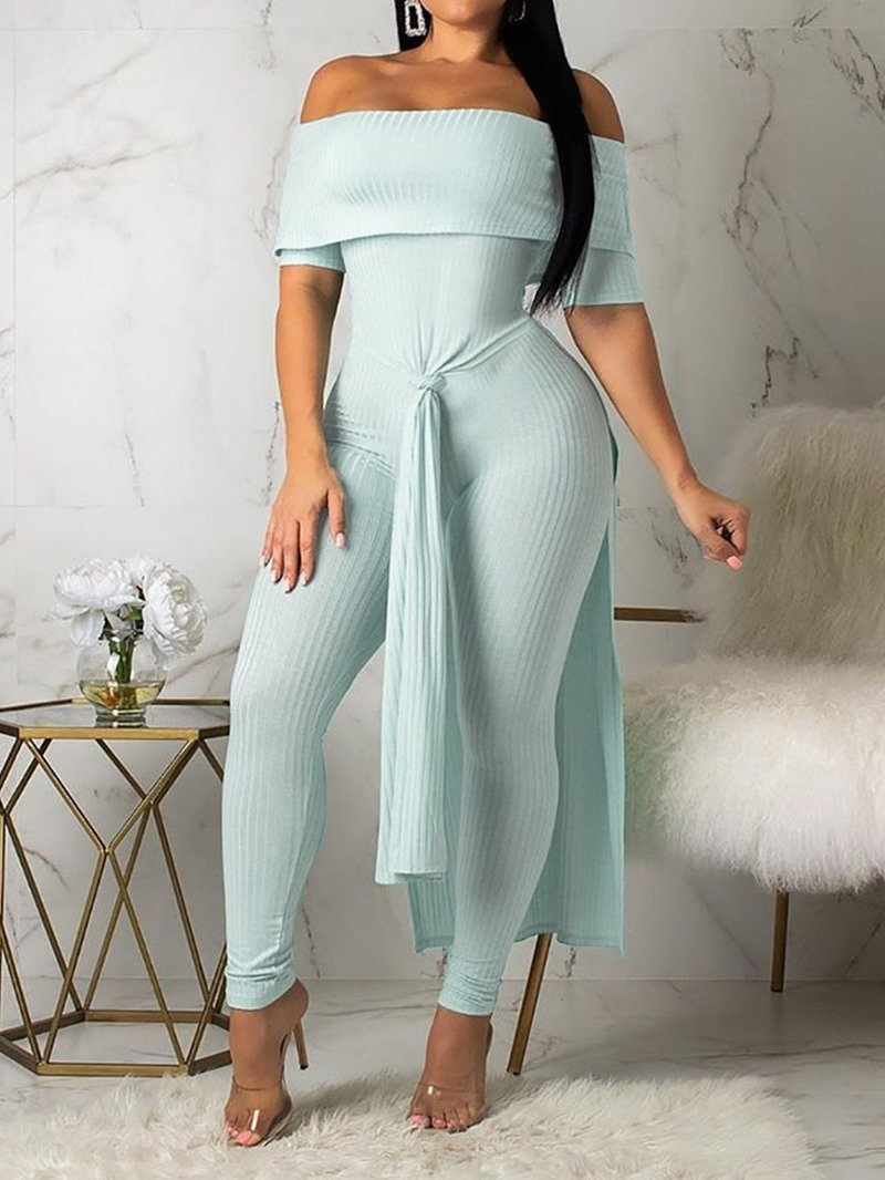 Ericdress Overlay Embellished Plain Culottes Skinny Off Shoulder Jumpsuit