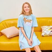 PJM Drop Shoulder Slogan & Dog Print Night Dress
