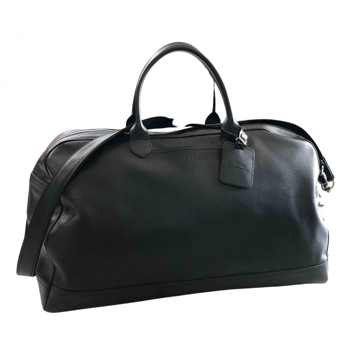 Longchamp - Sac de voyage   pour femme en cuir - noir