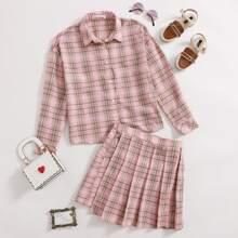 Girls Tartan Button Front Blouse & Zip Side Pleated Skirt Set