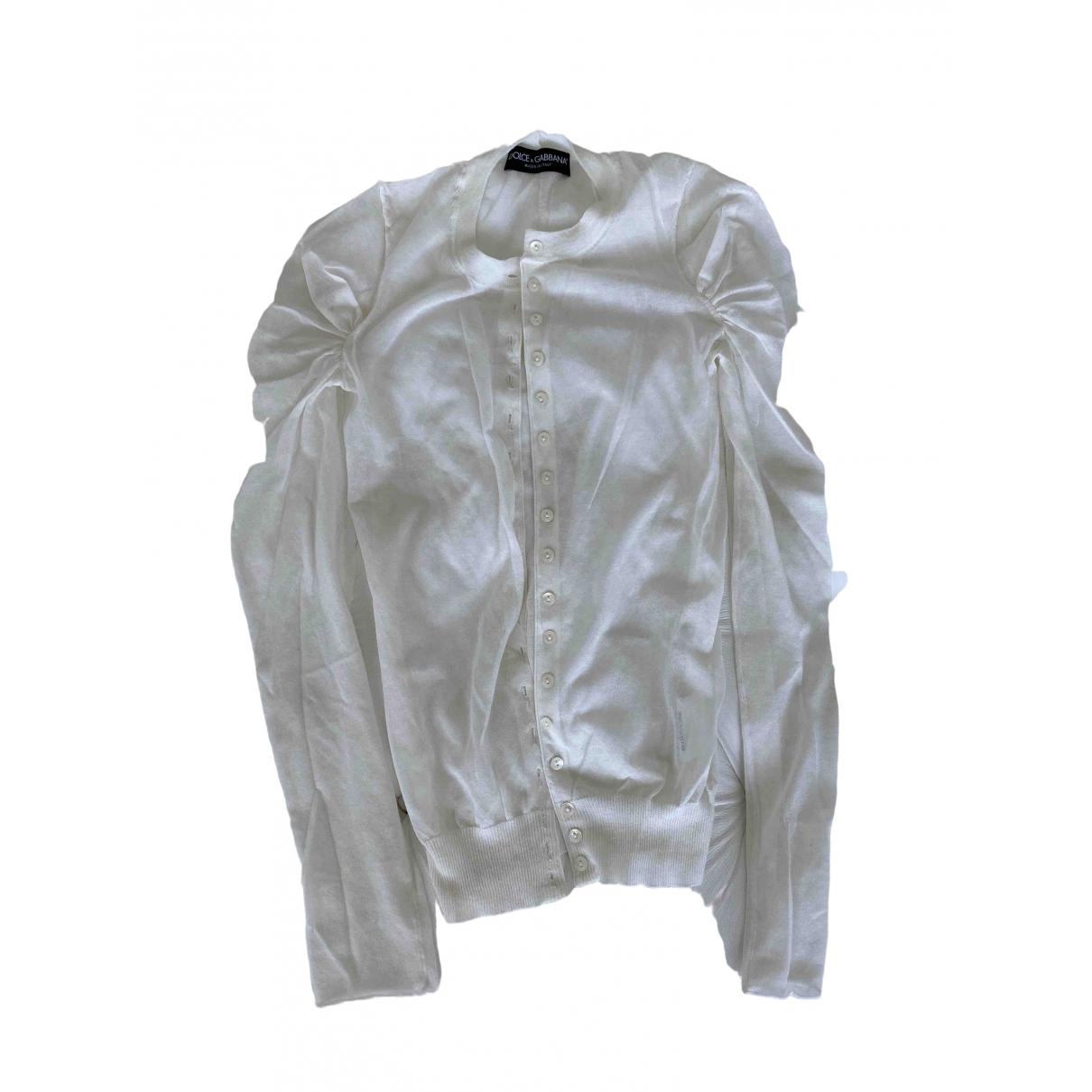 Dolce & Gabbana - Pull   pour femme en coton - blanc