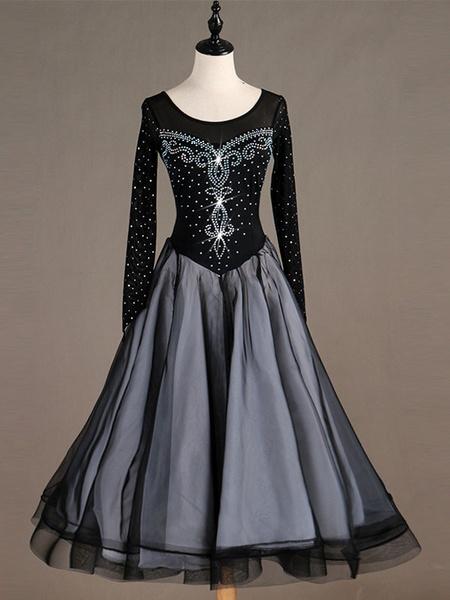 Milanoo Black Ballroom Dance Costume Long Sleeve Women Organza Beaded Long Dancing Dresses Halloween