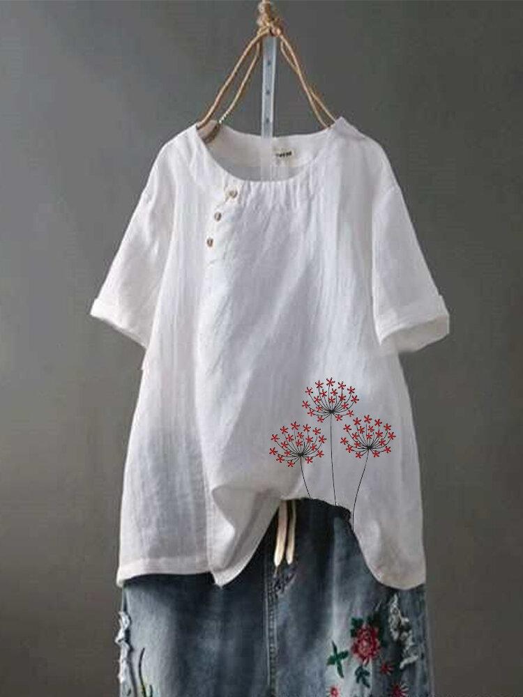 Flower Print Short Sleeve O-neck Button Casual T-shirt