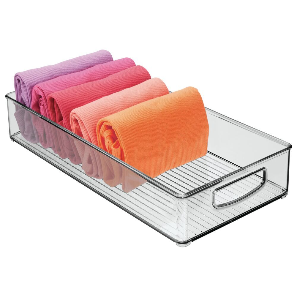 X-Long Plastic Bedroom Closet Drawer Organizer BinSmoke - 16
