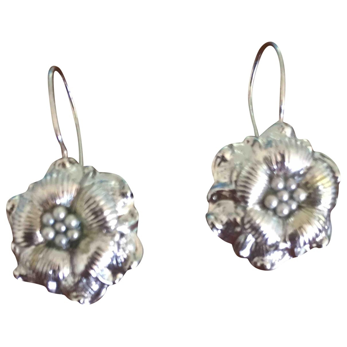 Non Signé / Unsigned Motifs Floraux Silver Metal Earrings for Women \N