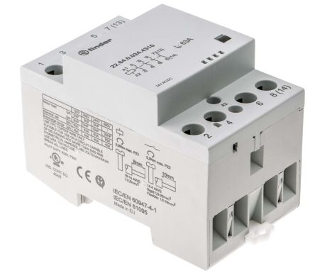 Finder , 24 V ac, 24 V dc Coil Non-Latching Relay 4NO, 63A Switching Current DIN Rail, 4 Pole
