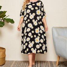 Grosse Grossen - Nachtkleid mit Gaensebluemchen Muster