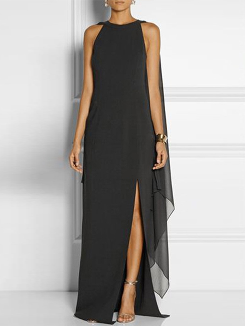 Ericdress Floor-Length Round Neck Split Summer Plain Dress