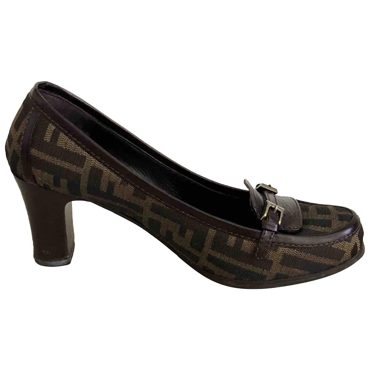 Fendi \N Brown Leather Heels for Women 38 IT
