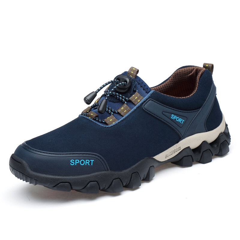 Men Outdoor Cowhide Leather Slip Resistant Soft Sole Casual Hiking Shoes