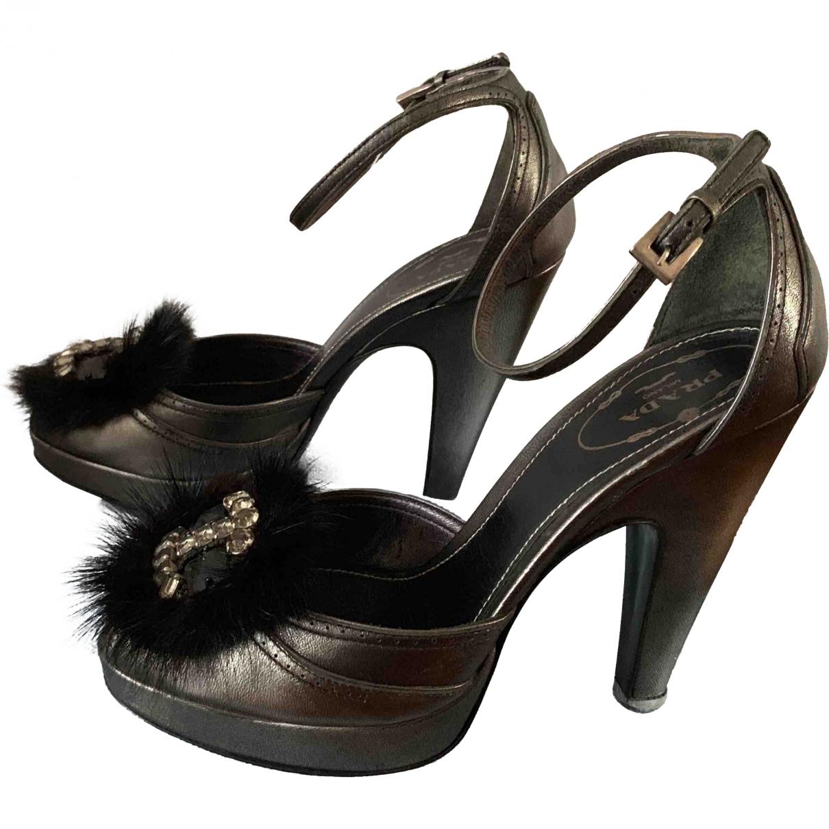 Prada \N Anthracite Leather Heels for Women 35 EU