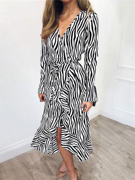 Milanoo Boho Maxi Vestidos Manga larga Estampado de leopardo gris Escote en V Poliester Vestido largo hasta el suelo