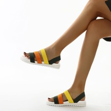 Colorblock Strappy Slingback Sandals