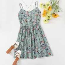 Babydoll Slip Kleid mit Blumen Muster
