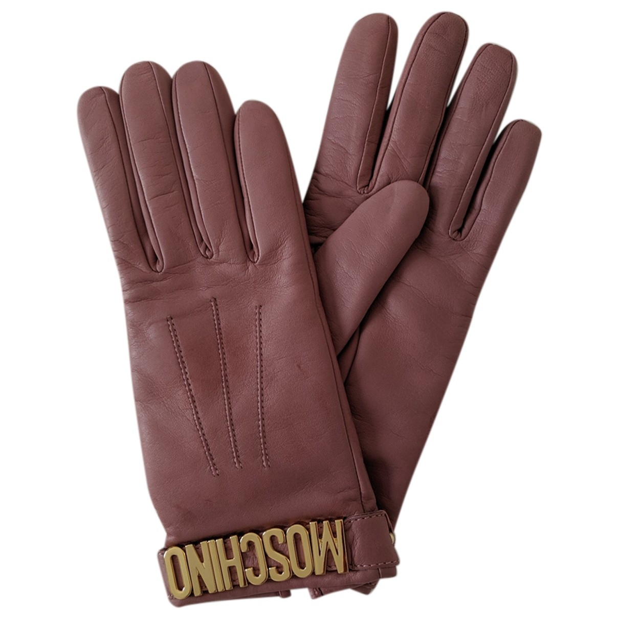 Moschino \N Pink Leather Gloves for Women M International