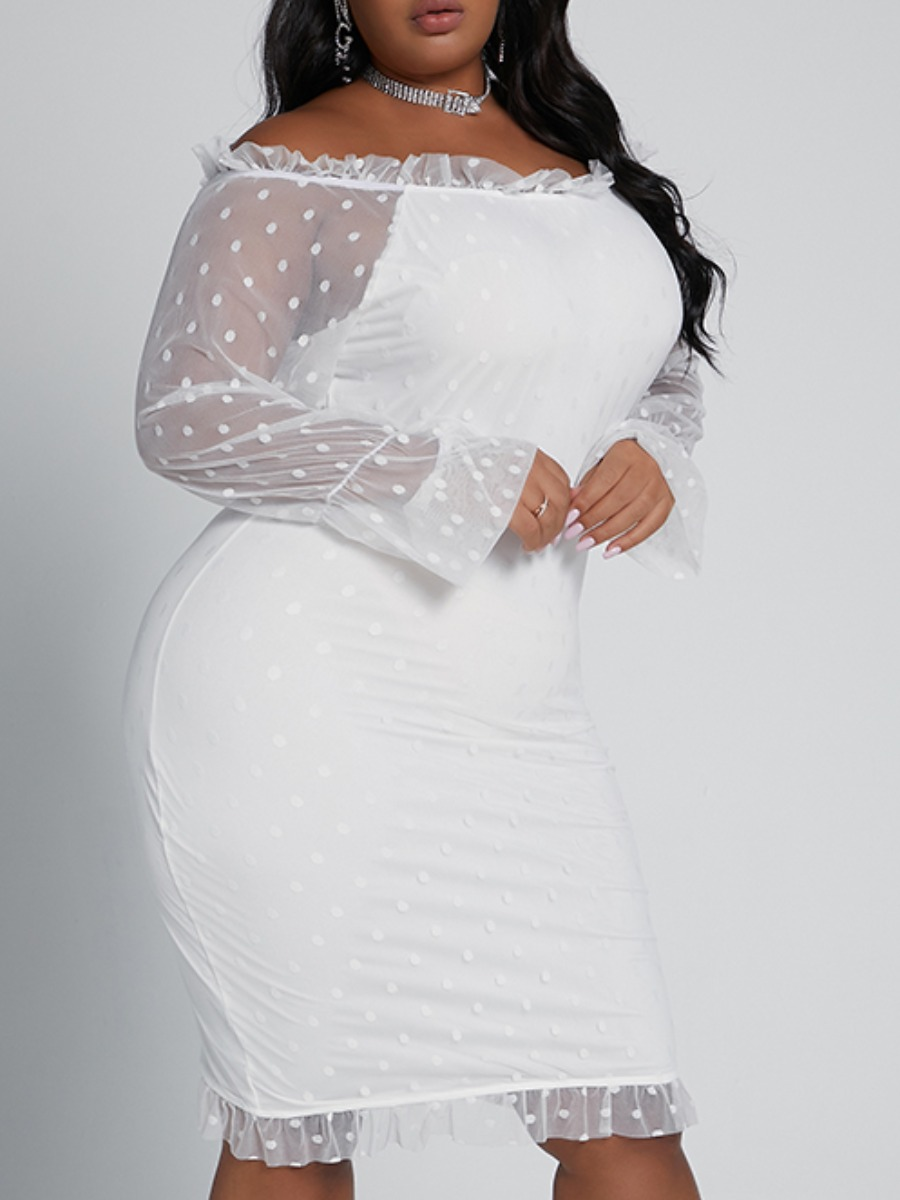 LW lovely Sweet Patchwork See-through White Knee Lengt Plus Size Dress