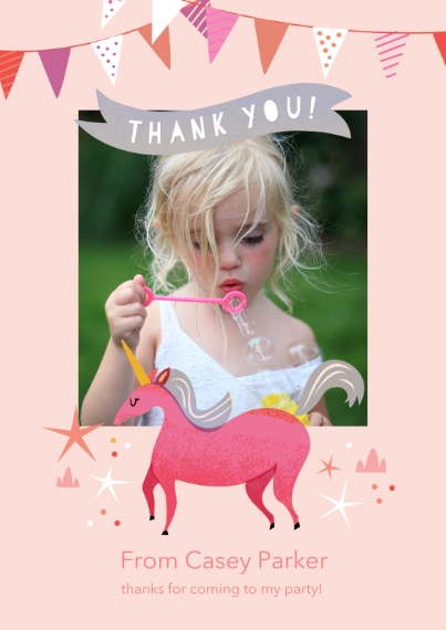 Kids Thank You Cards Flat Matte Photo Paper Cards with Envelopes, 5x7, Card & Stationery -Birthday Unicorn - Thank You
