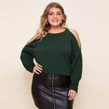Plus Cutout Raglan Sleeve Sweater