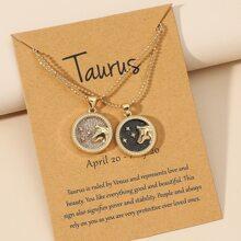 2 piezas colar con signo del zodiaco