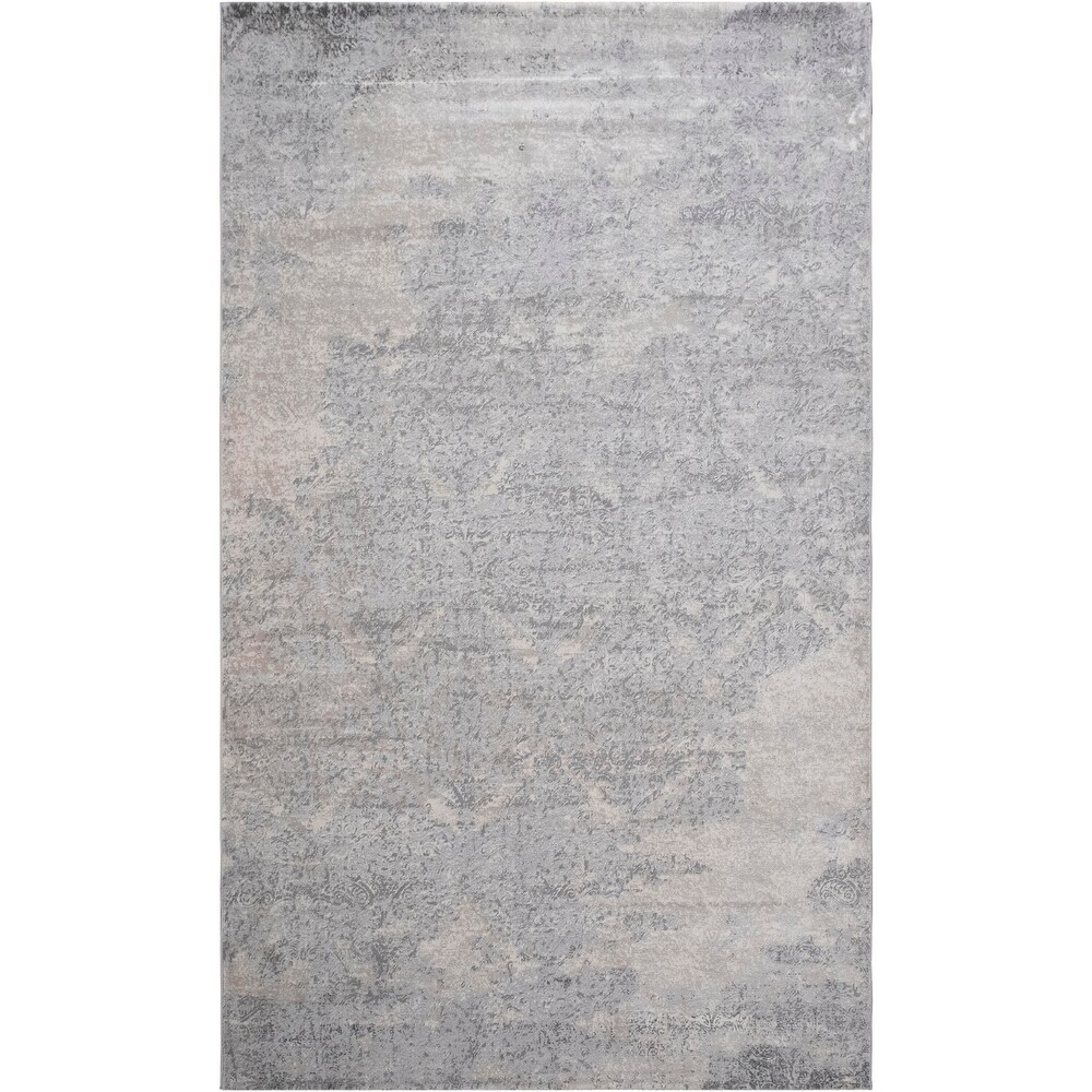 Violet Distressed Modern Beige Gray Rug (51 x 77)