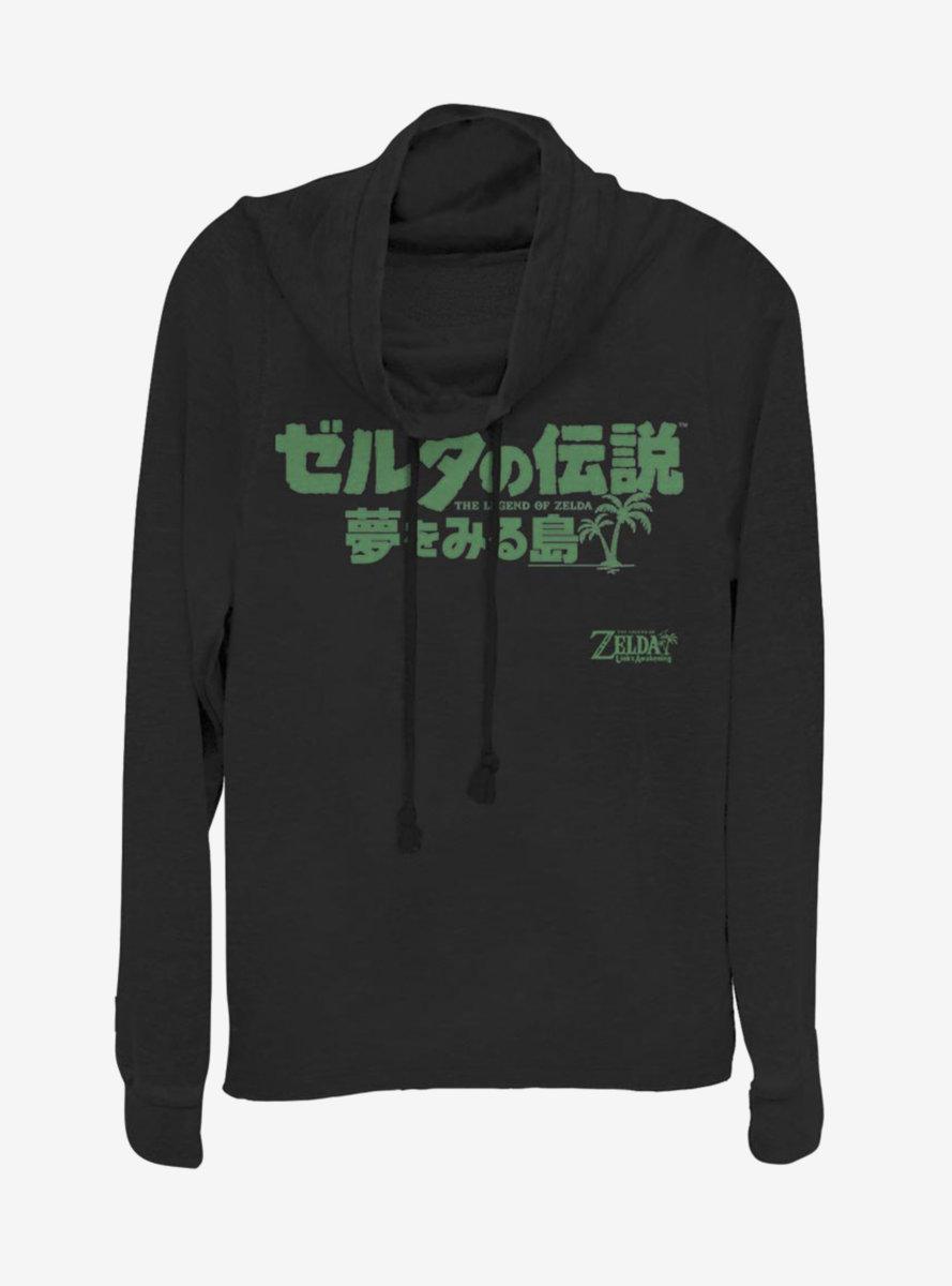Nintendo The Legend of Zelda: Link's Awakening Kanji Logo Cowlneck Long-Sleeve Womens Top