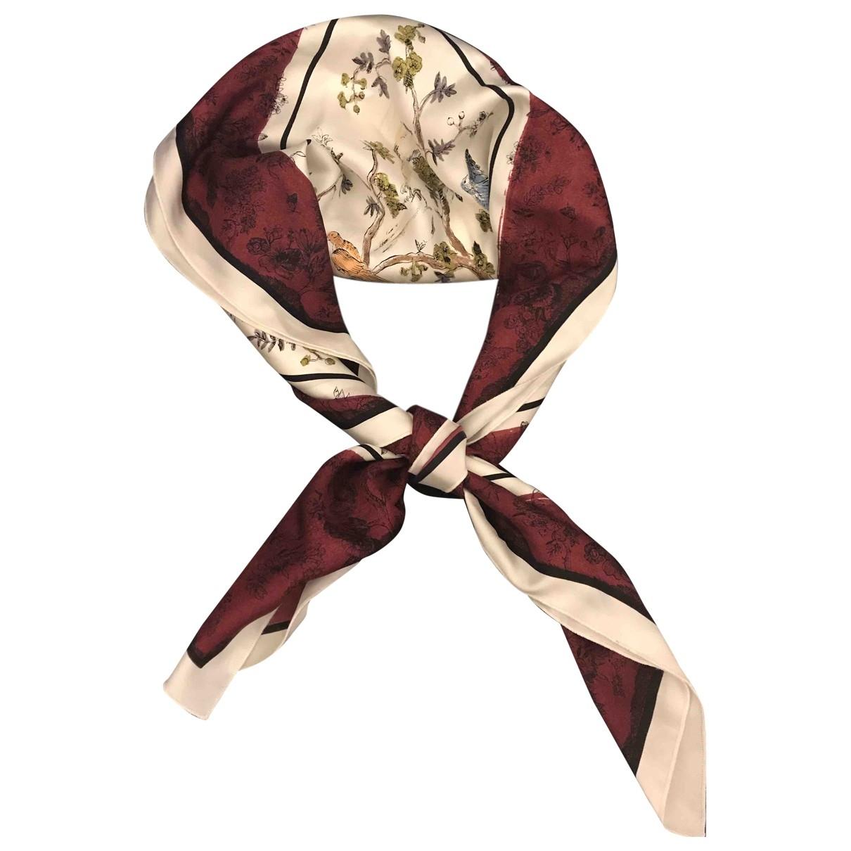 Dior \N Burgundy Silk Silk handkerchief for Women \N