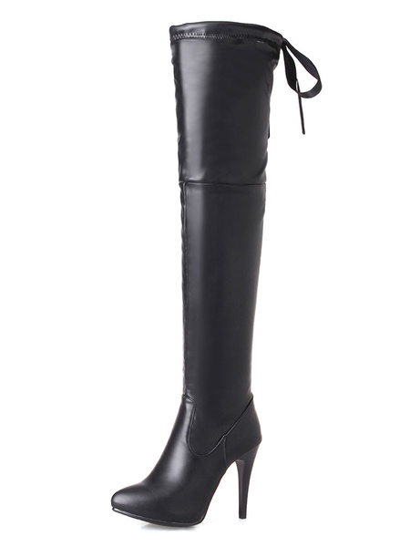 Milanoo Thigh High Boots Womens PU Pointed Toe Stiletto Heel Over The Knee Boots
