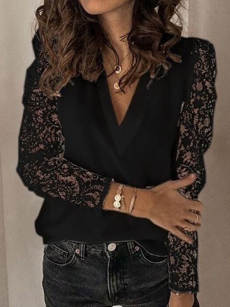 Yoins Lace Insert V-neck Long Sleeves Blouse
