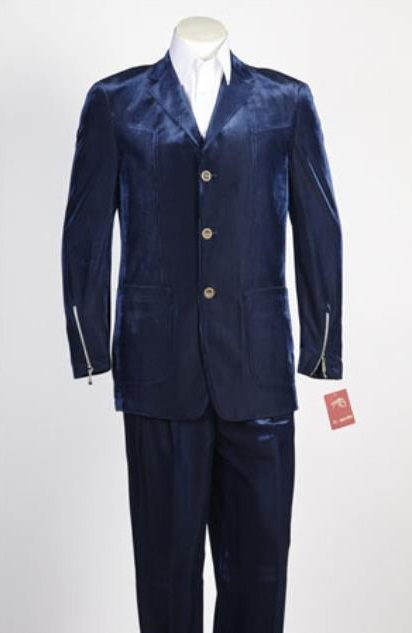 Mens 3 Button Single Breasted Blue Velvet Suit