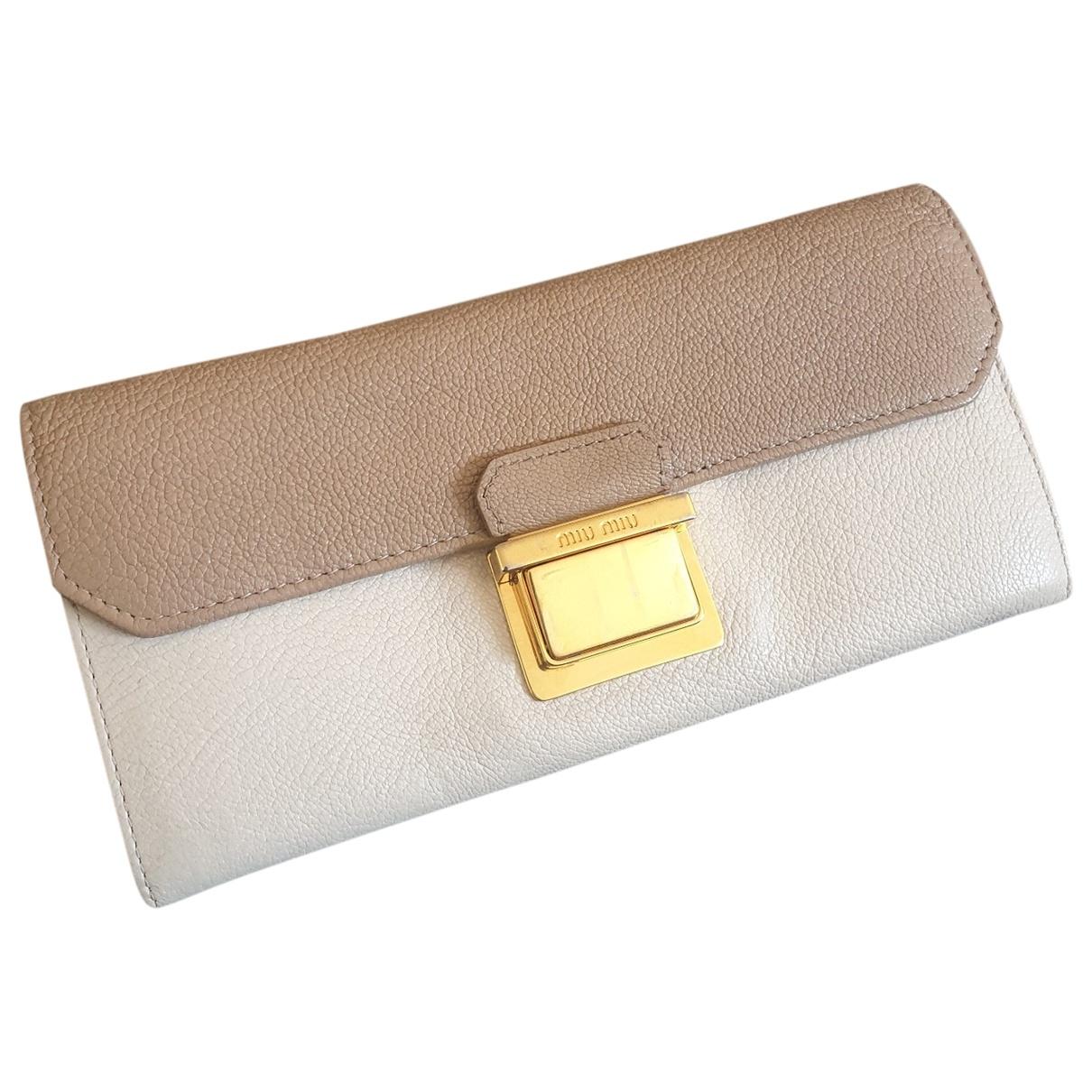 Miu Miu \N Beige Leather wallet for Women \N