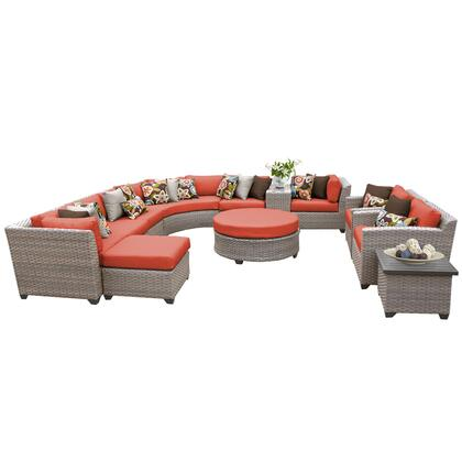 FLORENCE-12a-TANGERINE Florence 12 Piece Outdoor Wicker Patio Furniture Set 12a with 2 Covers: Grey and