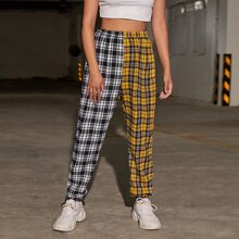 Colorblock Tartan Pants