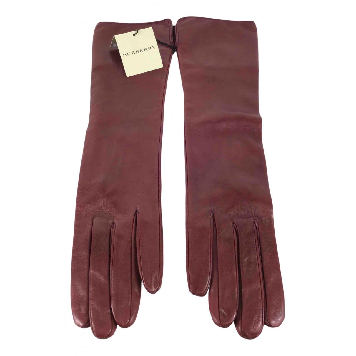 Burberry N Burgundy Leather Gloves for Women M International