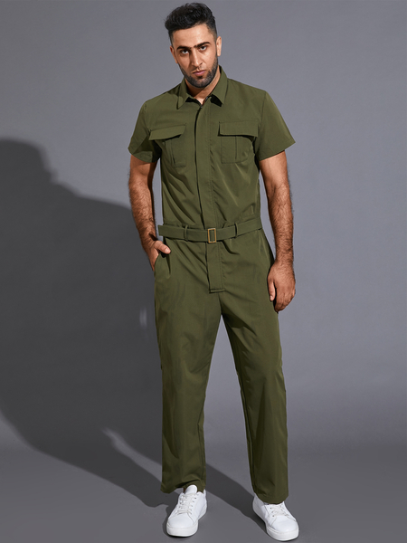 Yoins Men Summer Casual Plain Zip Front Belted  Multi-Pocket Cool Overalls jumpsuit