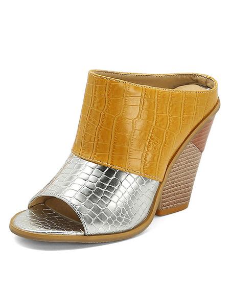 Milanoo de las mujeres tamaño de los zapatos de tacon Chunky mulas punta abierta del bloque del color Plus