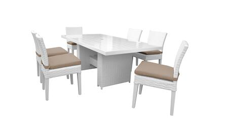 Miami MIAMI-DTREC-KIT-6C-WHEAT 7-Piece Patio Dining Set with Rectangular Dining Table and 6 Armless Chairs - Sail White and Wheat
