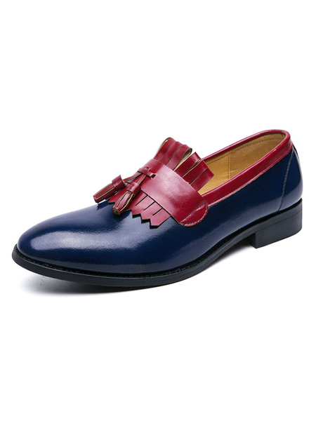 Milanoo Men\'s Loafer Shoes Cosy Blue Slip-On PU Leather Dress Shoes For Party